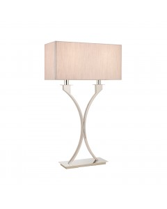 Interiors 1900 Vienna 2 Light Table Lamp In Polished Nickel With Beige Shade