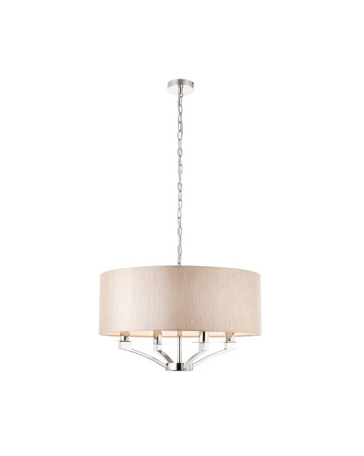 Interiors 1900 Vienna 4 Light Pendant In Polished Nickel With Beige Shade