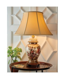 "Interiors 1900 Kutani Birds & Peony Table Lamp Complete With Zara 20"" Honey Silk Shade"