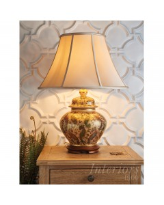 "Interiors 1900 Kutani Kashmir Table Lamp Complete With Zara 20"" Oyster Silk Shade"
