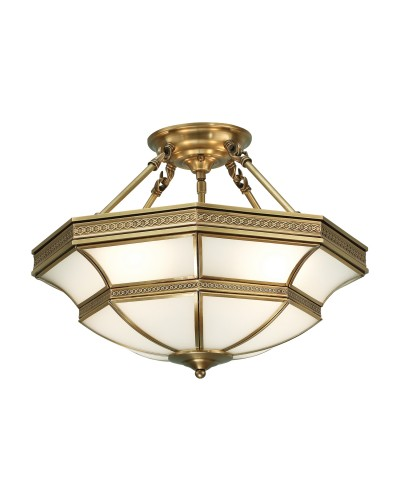 Interiors 1900 Rochamp Balfour 4 Light Semi-Flush Ceiling Light - Antique Brass & Frosted Glass