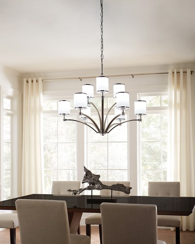 Elstead Lighting Feiss Prospect Park 9 Light Chandelier In Satin Nickel/Chrome Finish