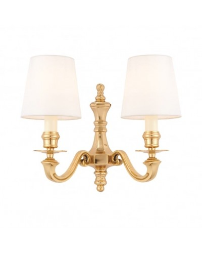 Interiors 1900 Rochamp Fenbridge Twin Wall Light in Solid Brass With White Silk Shades
