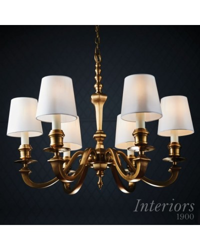 Interiors 1900 Rochamp Fenbridge 6 Light Solid Brass Chandelier With White Silk Shades