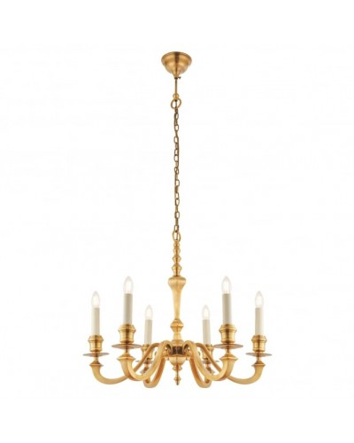 Interiors 1900 Rochamp Fenbridge 6 Light Solid Brass Chandelier (No Shades)