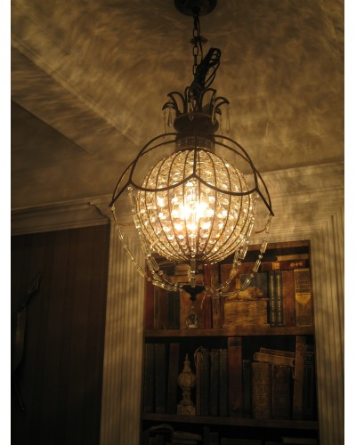 Feiss Bellini 3 Light Crystal Pendant In An Oxidised Bronze Finish