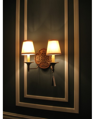 Feiss Marcella 2 Light Wall Light In Bronze Finish With Beige Fabric Shades