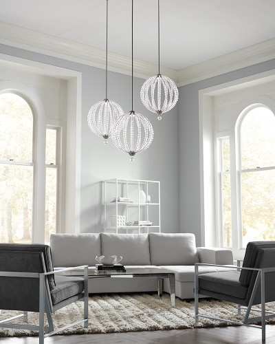 Feiss Oberlin 1 Light Small Pendant In Satin Nickel Finish (1 x 8W LED) With Height Adjustable Rods