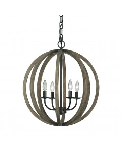 Elstead Lighting Feiss Allier 4 Light Pendant In Weather Oak Wood & Antique Forged Iron Finish