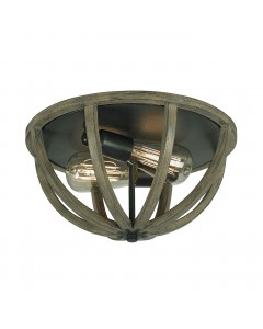 Elstead Lighting Feiss Allier 2 Light Flush Mounted Ceiling Light In Weather Oak Wood & Antique Forged Iron Finish