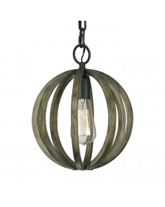 Elstead Lighting Feiss Allier 1 Light Mini Pendant In Weather Oak Wood & Antique Forged Iron Finish