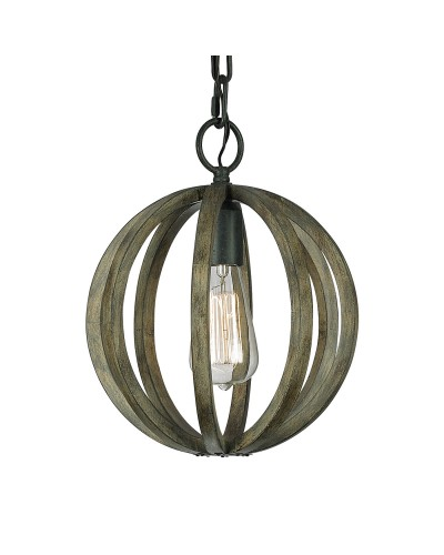 Feiss Allier 1 Light Mini Pendant In Weather Oak Wood & Antique Forged Iron Finish