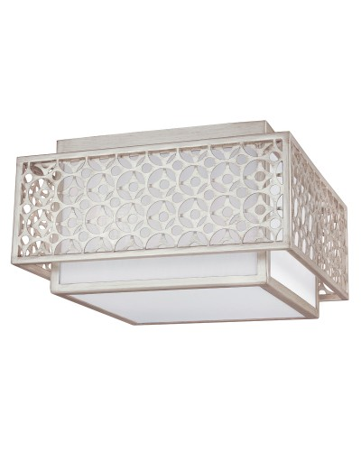 Feiss Kenney 2 Light Flush Mount Ceiling Light In Sunrise Silver Finish