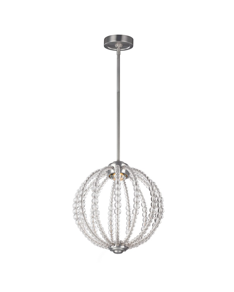 Height Adjustable Led Pendant Light Drop: Feiss Oberlin 1 Light Small Pendant In Satin Nickel Finish
