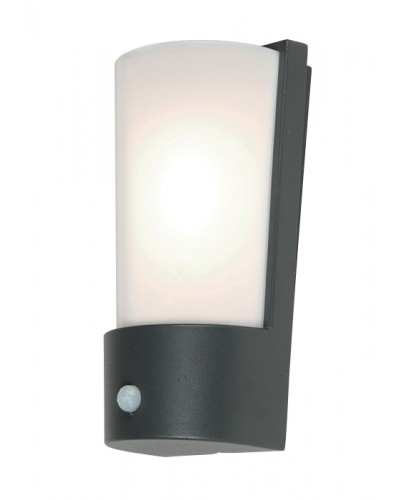 Elstead Lighting Azure Low Energy 1 Light Outdoor Security Wall Light In Dark Grey Finish With PIR Sensor