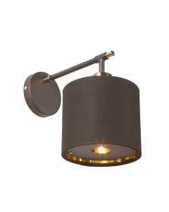 Elstead Lighting Balance 1 Light Wall Light In Brown/Polished Brass Finish Complete With Shade