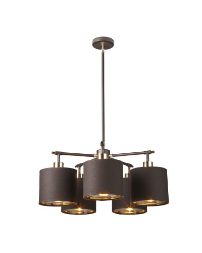 Elstead Lighting Balance 5 Light Chandelier In Brown/Polished Brass Finish With 4 Height Adjustable Rods Complete With Shades
