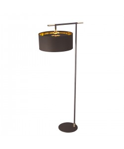 Elstead Lighting Balance 1 Light Floor Lamp In Brown/Polished Brass Finish Complete With Shade
