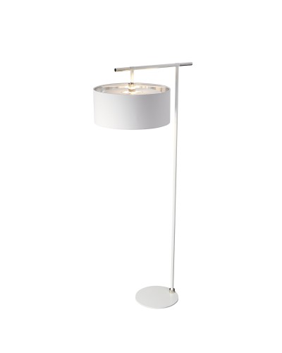 Elstead Lighting Balance 1 Light Floor Lamp In White/Polished Nickel Finish Complete With Shade