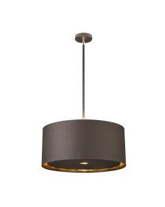Elstead Lighting Balance 1 Light Pendant In Brown/Polished Brass Finish With 4 Height Adjustable Rods Complete With Shade