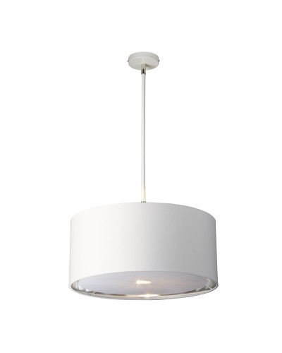 Elstead Lighting Balance 1 Light Pendant In White/Polished Nickel Finish With 4 Height Adjustable Rods Complete With Shade