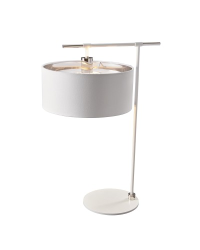 Elstead Lighting Balance 1 Light Table Lamp In White/Polished Nickel Finish Complete With Shade