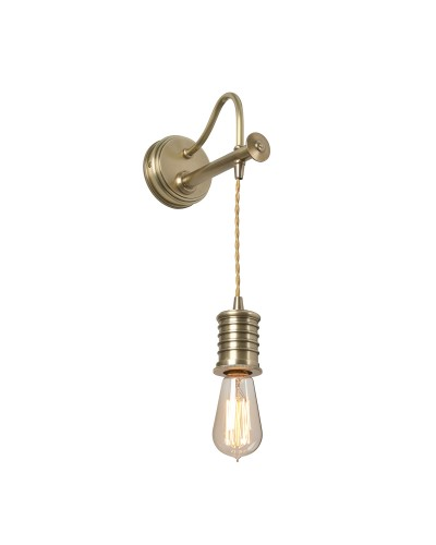 Elstead Lighting Douille 1 Light Lamp Holder Wall Light In Aged Brass Finish With Height Adjustable Cord (On Installation)
