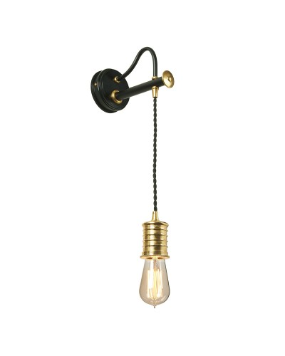 Elstead Lighting Douille 1 Light Lamp Holder Wall Light In Black/Polished Brass Finish With Height Adjustable Cord (On Installation)