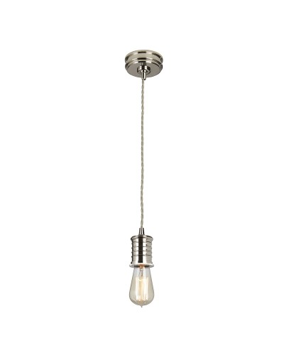 Elstead Lighting Douille 1 Light Ceiling Lamp Holder Pendant In Polished Nickel Finish With Height Adjustable Cord (On Installation)