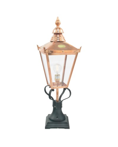 Elstead Lighting Norlys Chelsea Grande 1 Light Outdoor Pedestal Lantern In Copper and Black Finish