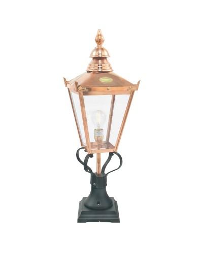 Elstead Lighting Norlys Chelsea Grande 1 Light Outdoor Pedestal Lantern In Copper and Black Finish