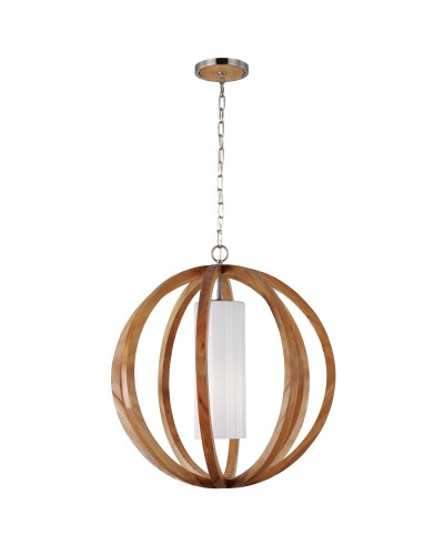 Feiss Allier 1 Light Large Pendant In Light Wood & Brushed Steel Finish