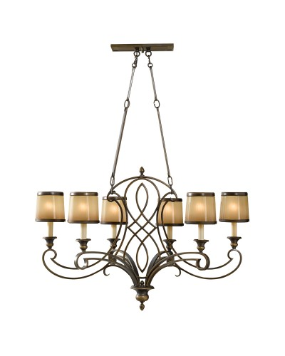 Feiss Justine 6 Light Island Chandelier In Astral Bronze Finish With Height Adjustable Rods