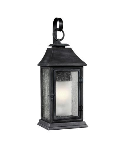 Feiss Shepherd 1 Light Outdoor Large Wall Lantern In Dark Weathered Zinc Finish