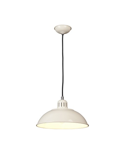 Elstead Lighting Franklin 1 Light Pendant In Oyster Cream Enamel Paint With Height Adjustable Black Cord (On Installation)