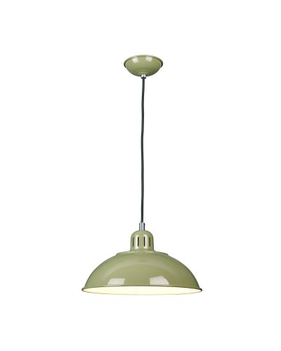 Elstead Lighting Franklin 1 Light Pendant In Reed Green Enamel Paint With Height Adjustable Black Cord (On Installation)