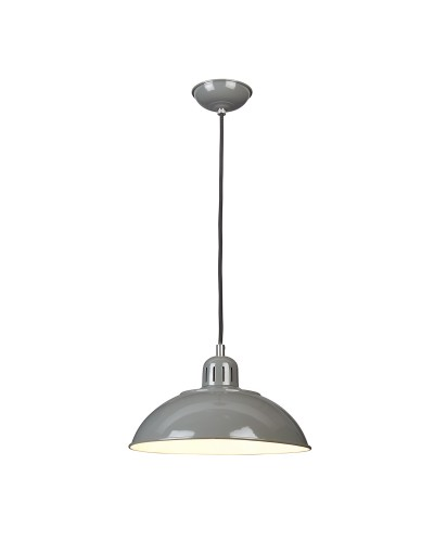 Elstead Lighting Franklin 1 Light Pendant In Tarpaulin Grey Enamel Paint With Height Adjustable Black Cord (On Installation)