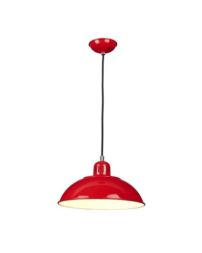 Elstead Lighting Franklin 1 Light Pendant In Traffic Red Enamel Paint With Height Adjustable Black Cord (On Installation)