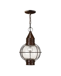 Hinkley Cape Cod 1 Light Outdoor Duo-Mount Small Chain Lantern In Sienna Bronze