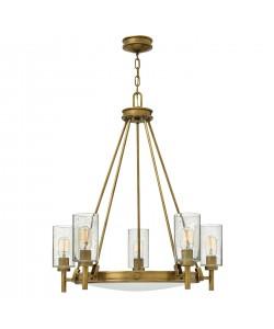 Elstead Lighting Hinkley Collier 5 Light Chandelier In Heritage Brass Finish