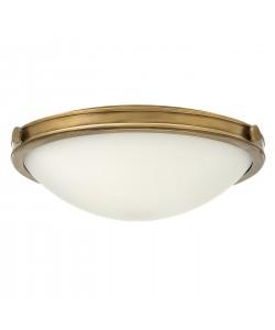Elstead Lighting Hinkley Collier 3 Light Medium Flush Ceiling Light In Heritage Brass Finish