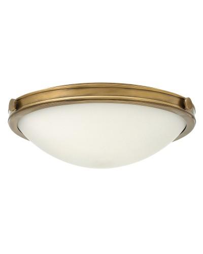 Hinkley Collier 3 Light Medium Flush Ceiling Light In Heritage Brass Finish