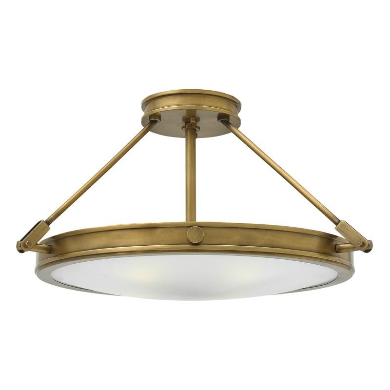 Hinkley Collier 4 Light Medium Semi Flush Ceiling Light In Heritage Brass  Finish