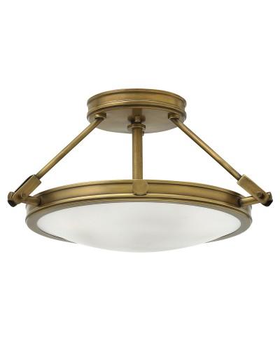 Hinkley Collier 3 Light Small Semi-Flush Ceiling Light In Heritage Brass Finish