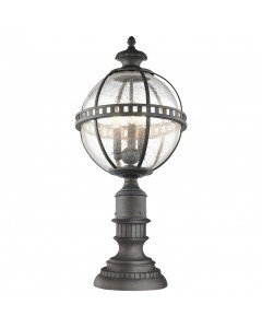 Elstead Lighting Kichler Halleron 3 Light Outdoor Pedestal Lantern In Londonderry Finish
