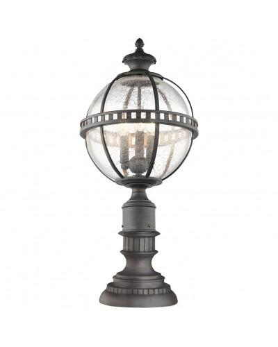 Elstead Lighting Kichler Halleron 3 Light Outdoor Pedestal Lantern In Londonderry Finish