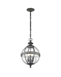 Elstead Lighting Kichler Halleron 3 Light Outdoor Chain Lantern In Londonderry Finish