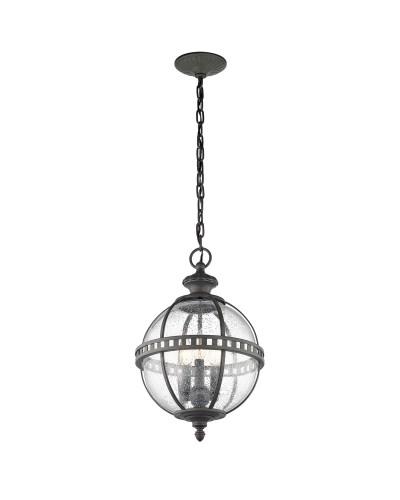 Elstead Lighting Kichler Halleron 3 Light Outdoor Chain Lantern In Londonderry Finish