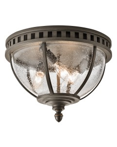 Elstead Lighting Kichler Halleron 3 Light Outdoor Flush Ceiling Light In Londonderry Finish