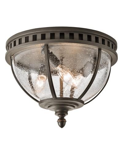 Elstead Lighting Kichler Halleron 3 Light Outdoor Flush Ceiling Light In Londonderry Finish